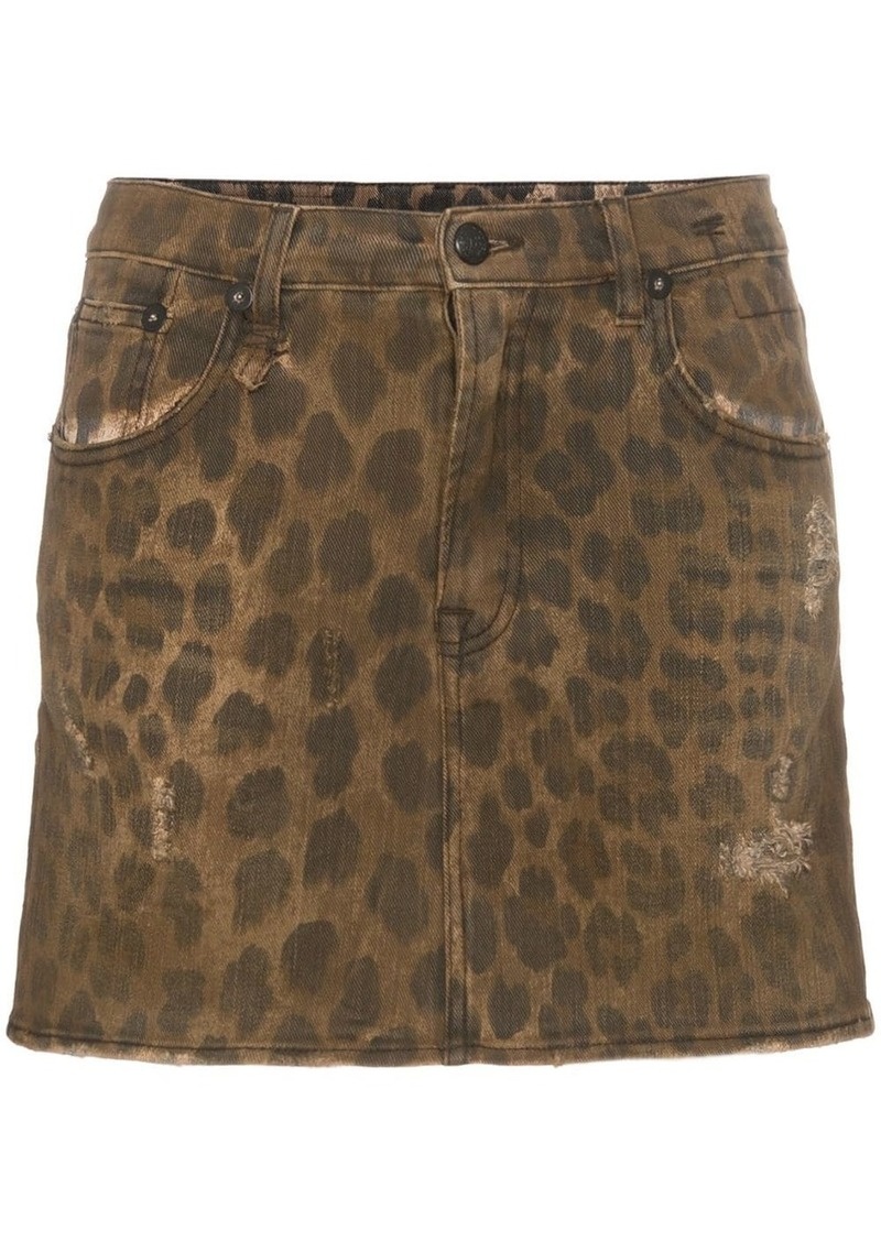 R13 high rise leopard print cotton mini skirt