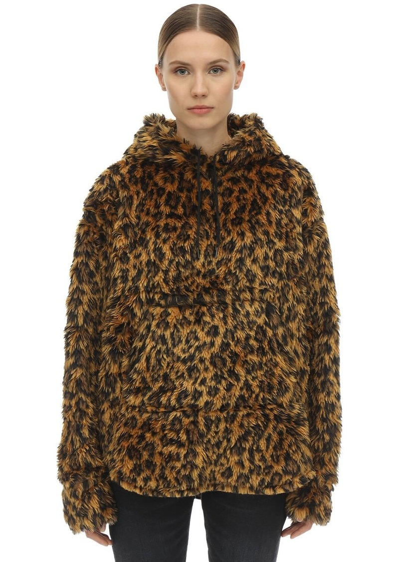 R13 Hooded Fuzzy Faux Fur Jacket