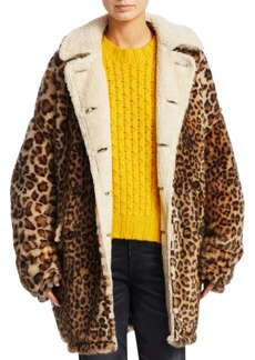 R13 Hunting Leopard Print Shearling-Lined Jacket