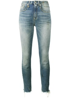 R13 Jenny Washed Blue mid rise skinny jeans