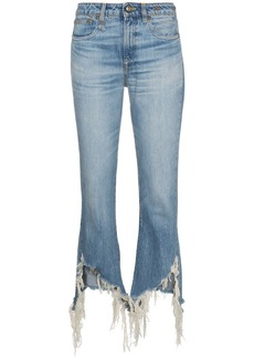 R13 kick fit distressed hem jeans