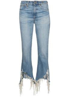 R13 kick fit distressed hem jeans