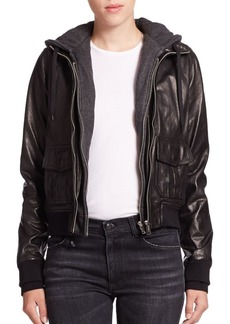 R13 Layered Jersey-Hood Leather Bomber Jacket