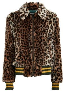 R13 Leopard Faux Fur Bomber Jacket