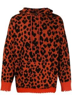 R13 leopard hooded jumper
