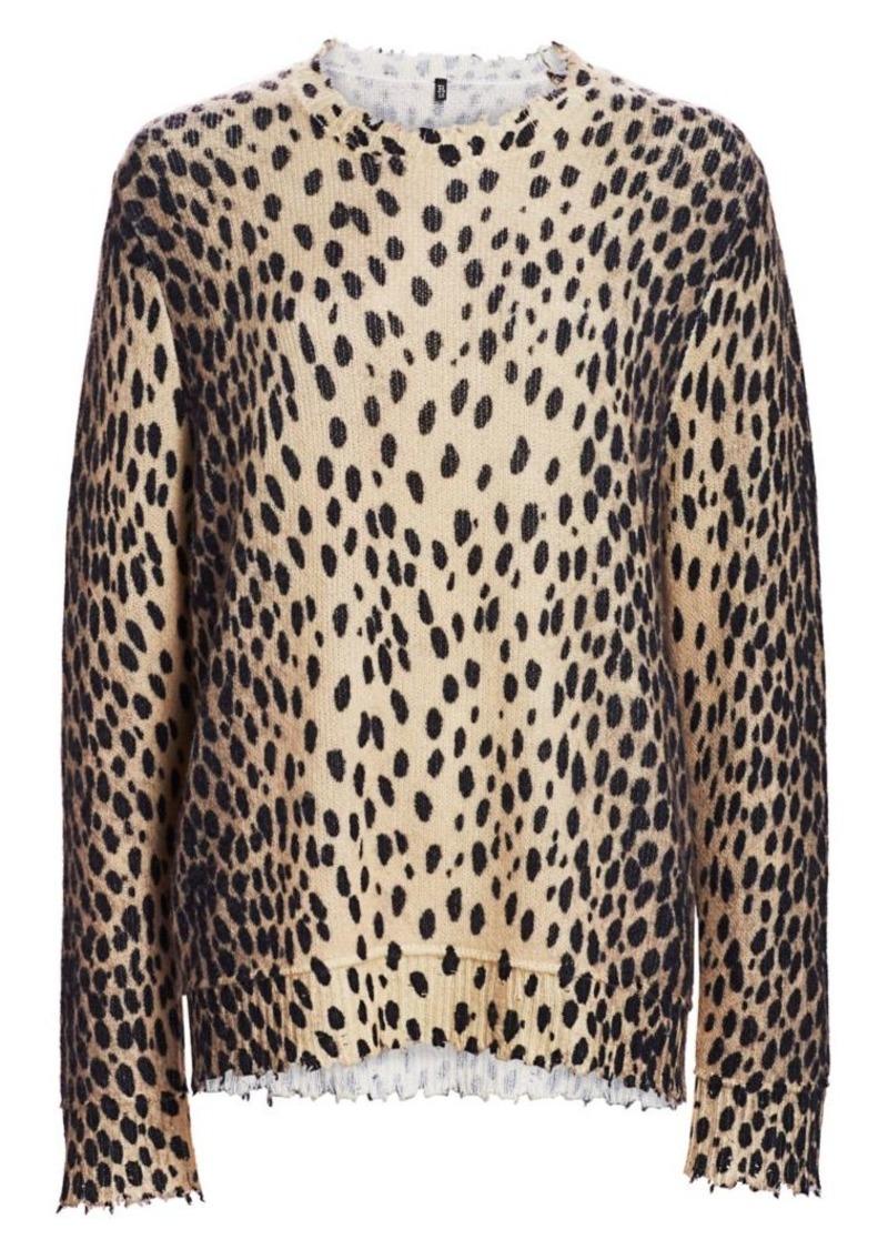 R13 Leopard Print Cashmere Crewneck Sweater