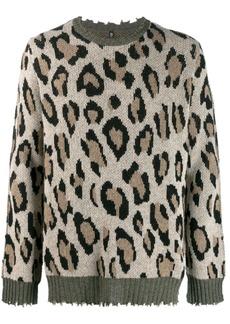 R13 leopard print chewed sweater