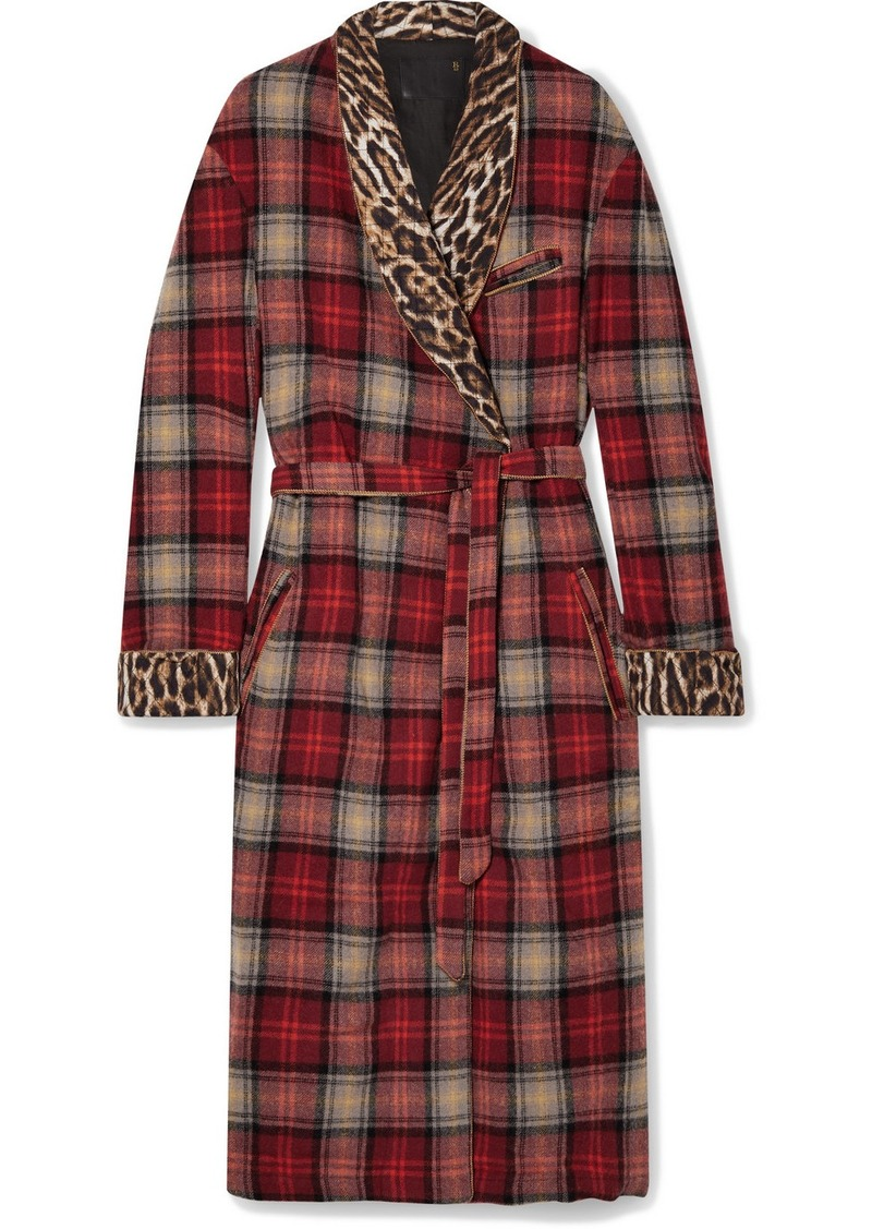 R13 Leopard-print Crepe-trimmed Checked Wool-blend Coat
