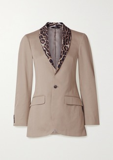 R13 Leopard-print Crepe-trimmed Cotton-twill Blazer