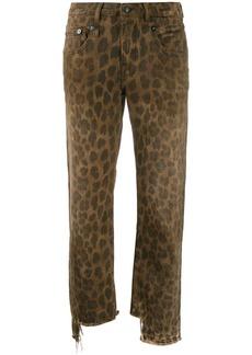 R13 leopard print cropped jeans