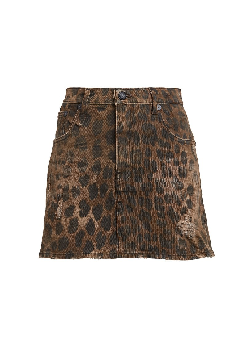 R13 Leopard Print Denim Mini Skirt