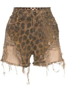 R13 leopard-print distressed shorts