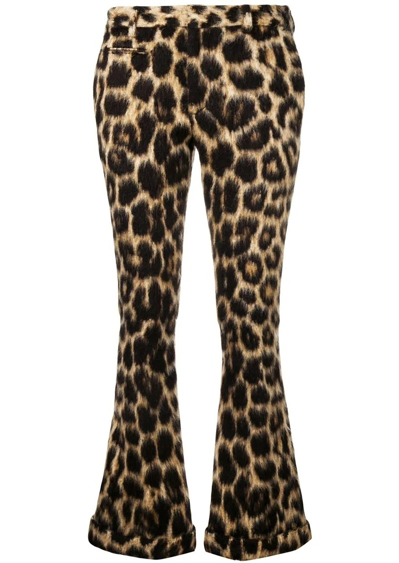 R13 leopard print flared trousers