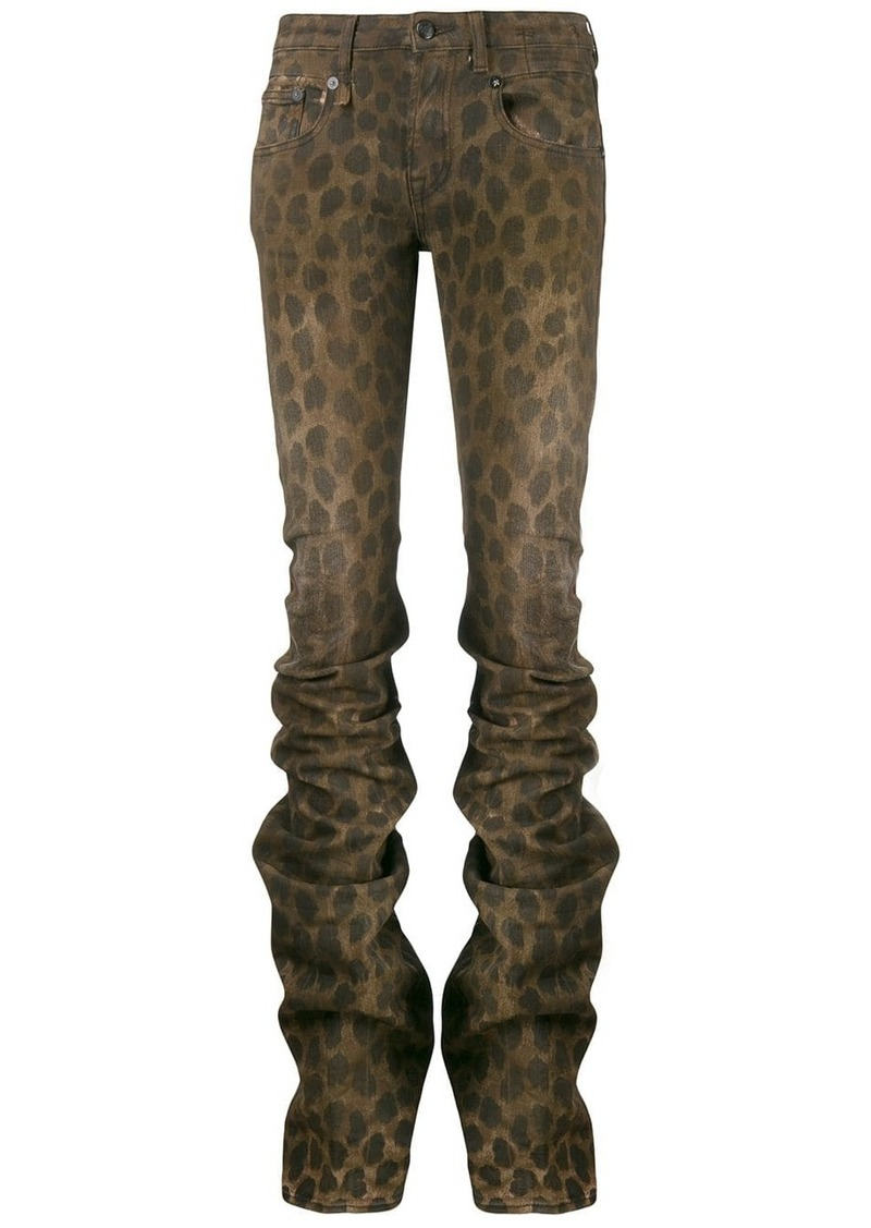 R13 leopard print gathered skinny trousers