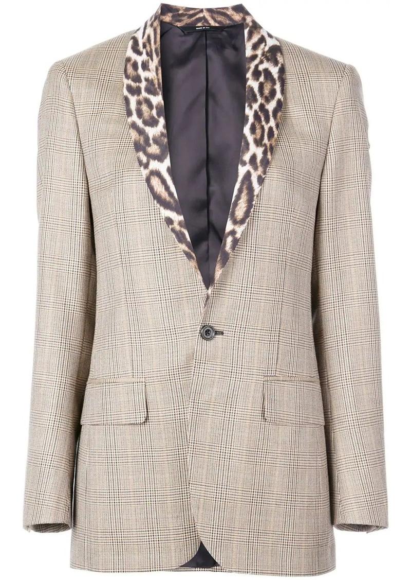 R13 leopard print lapel blazer