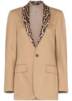 R13 leopard print-trimmed cotton tuxedo blazer