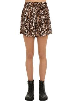R13 Leopard Print Viscose Shorts
