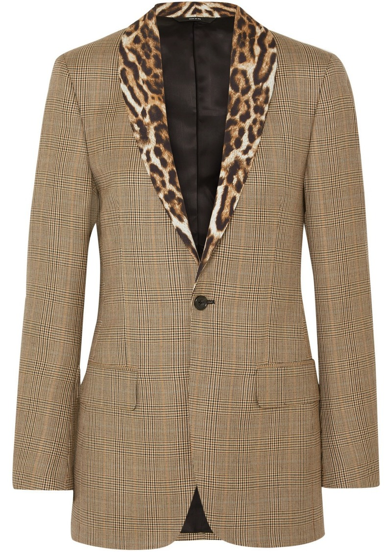 R13 Leopard-print Voile-trimmed Prince Of Wales Checked Wool Blazer