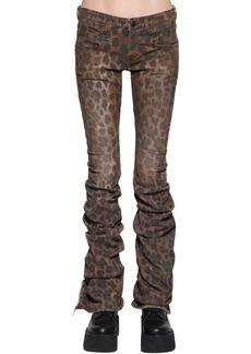 R13 Leopard Printed Draped Cotton Denim Jean