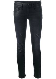 R13 low-rise coated skinny jeans