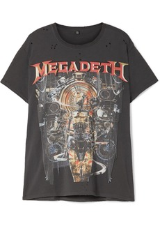 R13 Megadeth Distressed Printed Cotton-jersey T-shirt
