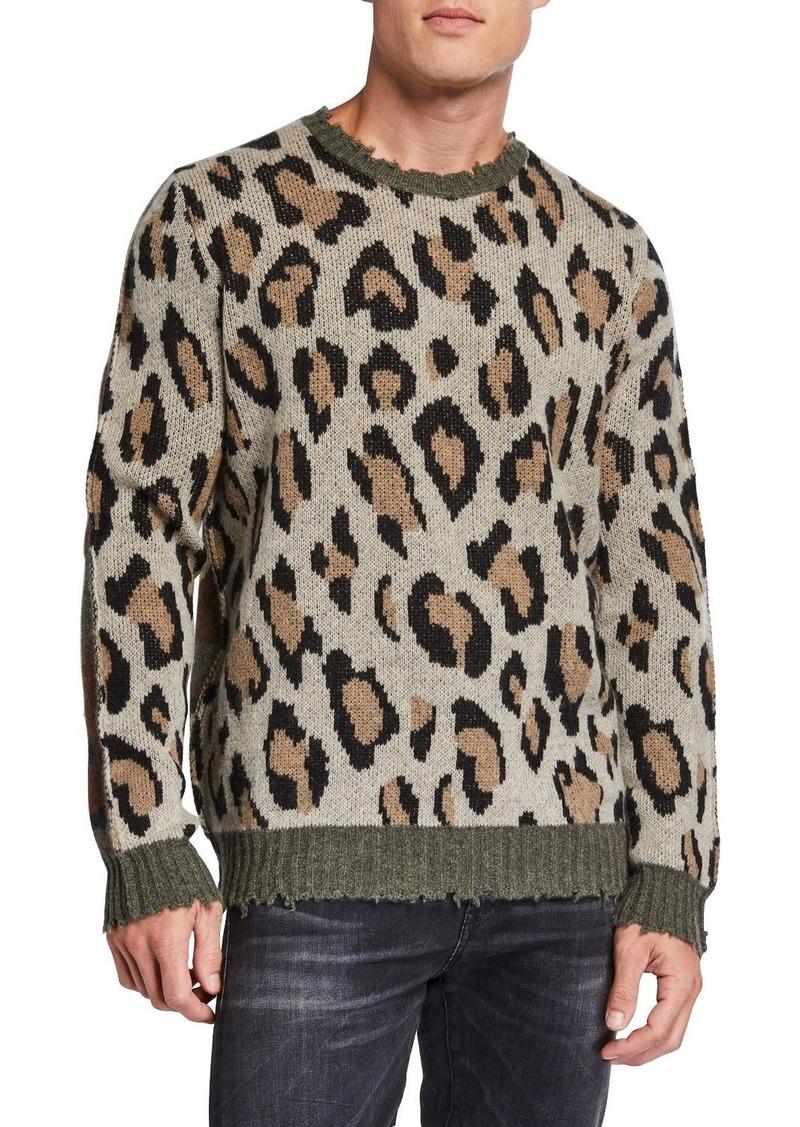 R13 Men's Leopard/Camo Raw-Edge Crewneck Sweater