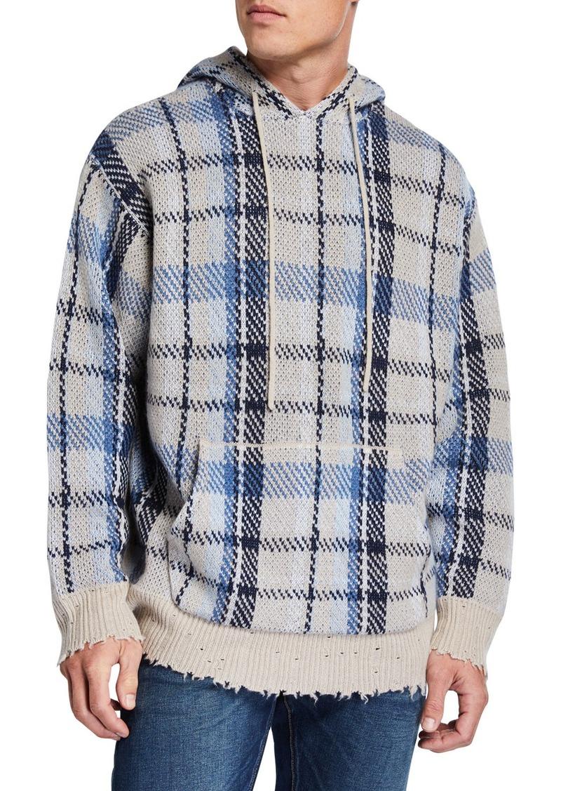 R13 Men's Plaid Hoodie Sweater w/ Raw-Edge Trim