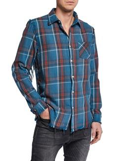 R13 Men's Plaid Sport Shirt w/ Shredded Seams