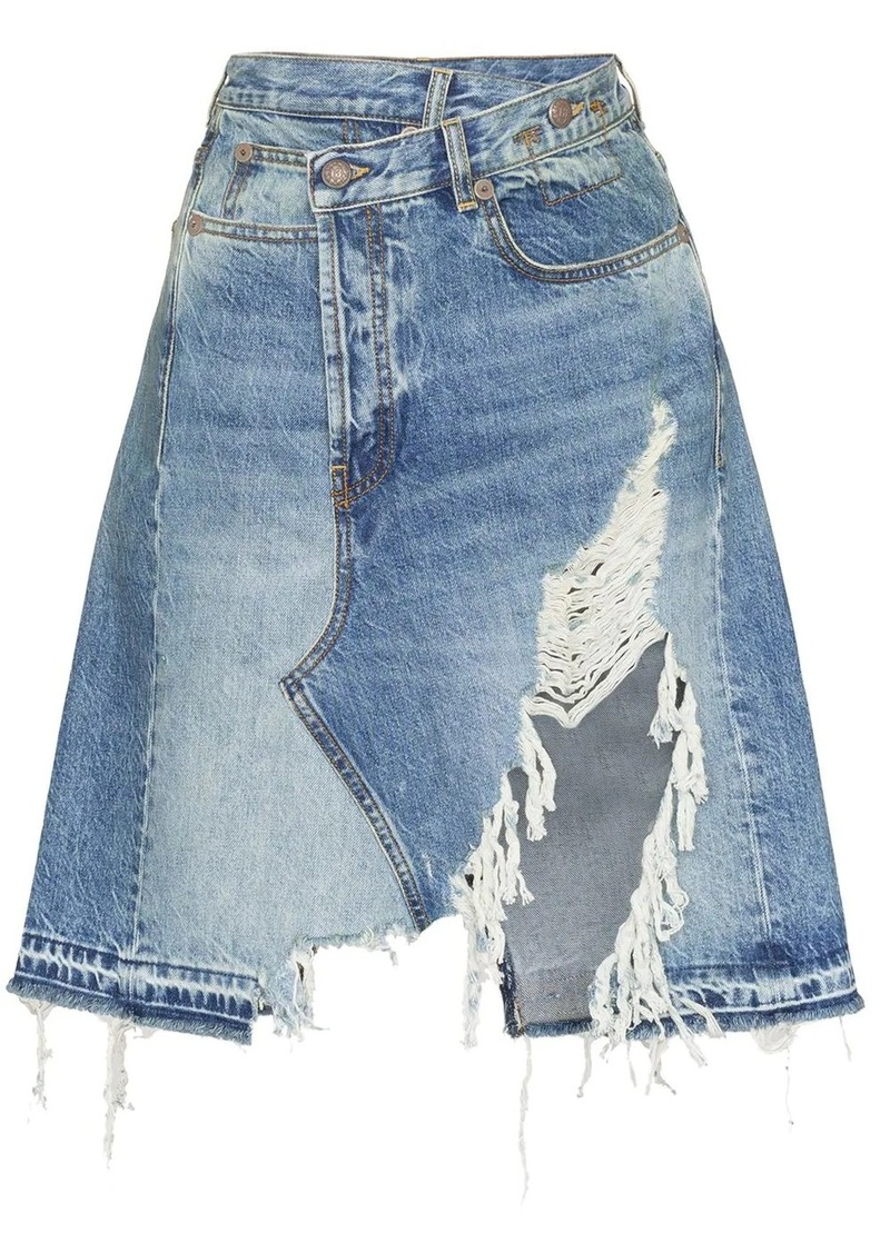 R13 Norbury asymmetric denim skirt