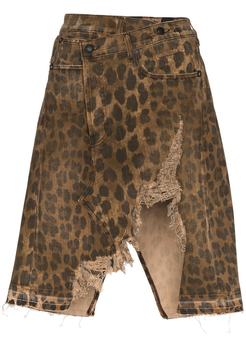 R13 Norbury distressed leopard-print denim skirt