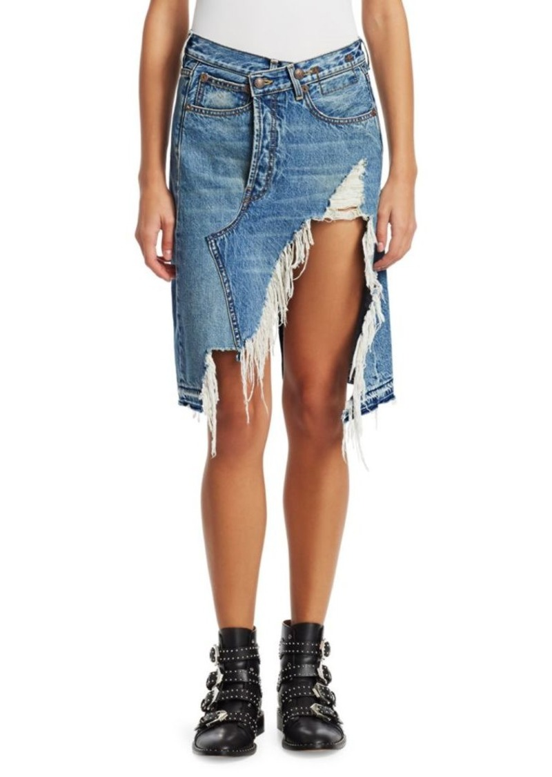 R13 Norbury Shredded A-Line Denim Skirt