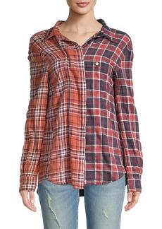 R13 Off-Shoulder Two-Tone Plaid Shirt