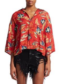 R13 Oversized Cropped Hawaiian Shirt