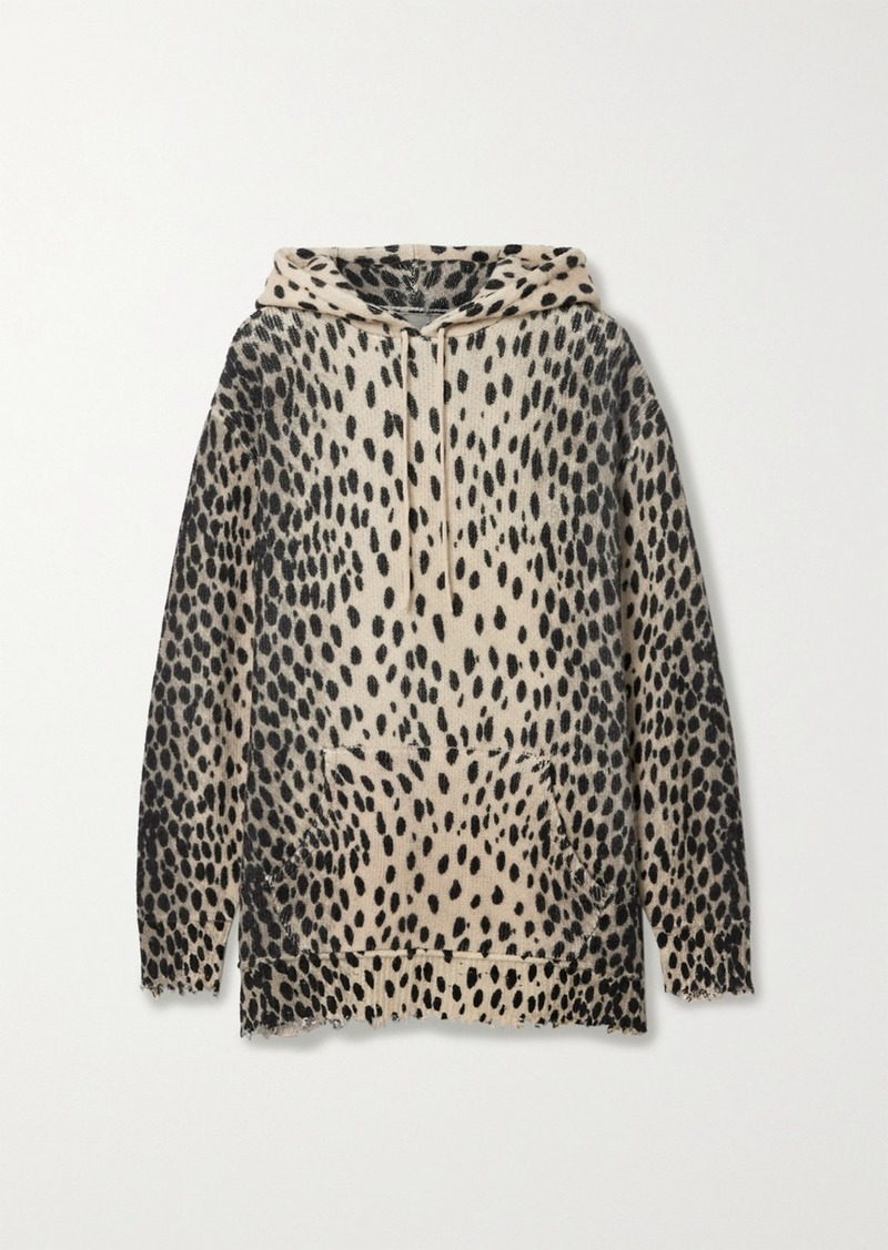 R13 Oversized Distressed Cheetah-print Cashmere Hoodie