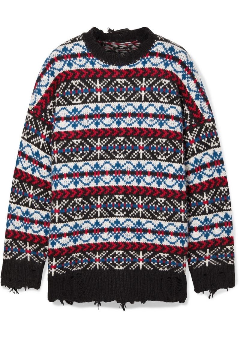R13 Oversized Distressed Fair Isle Cashmere Sweater