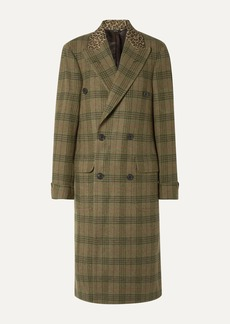 R13 Oversized Leopard-print Cotton-trimmed Checked Wool-twill Coat