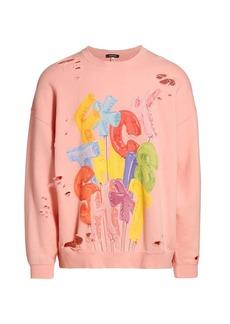 R13 Oversized Multicolor Distressed Sweatshirt