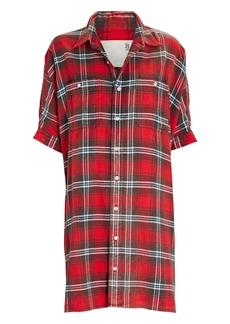 R13 Oversized Plaid Flannel Shirt Dress