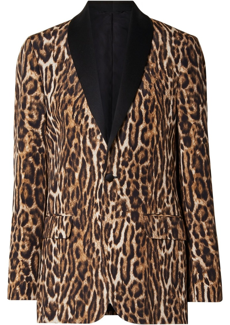 R13 Oversized Satin-trimmed Leopard-print Cotton-blend Crepe Blazer