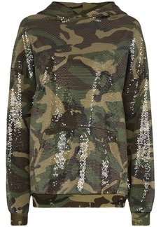 R13 oversized sequinned cotton-blend hoodie