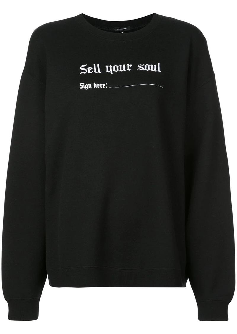 R13 oversized slogan print sweatshirt