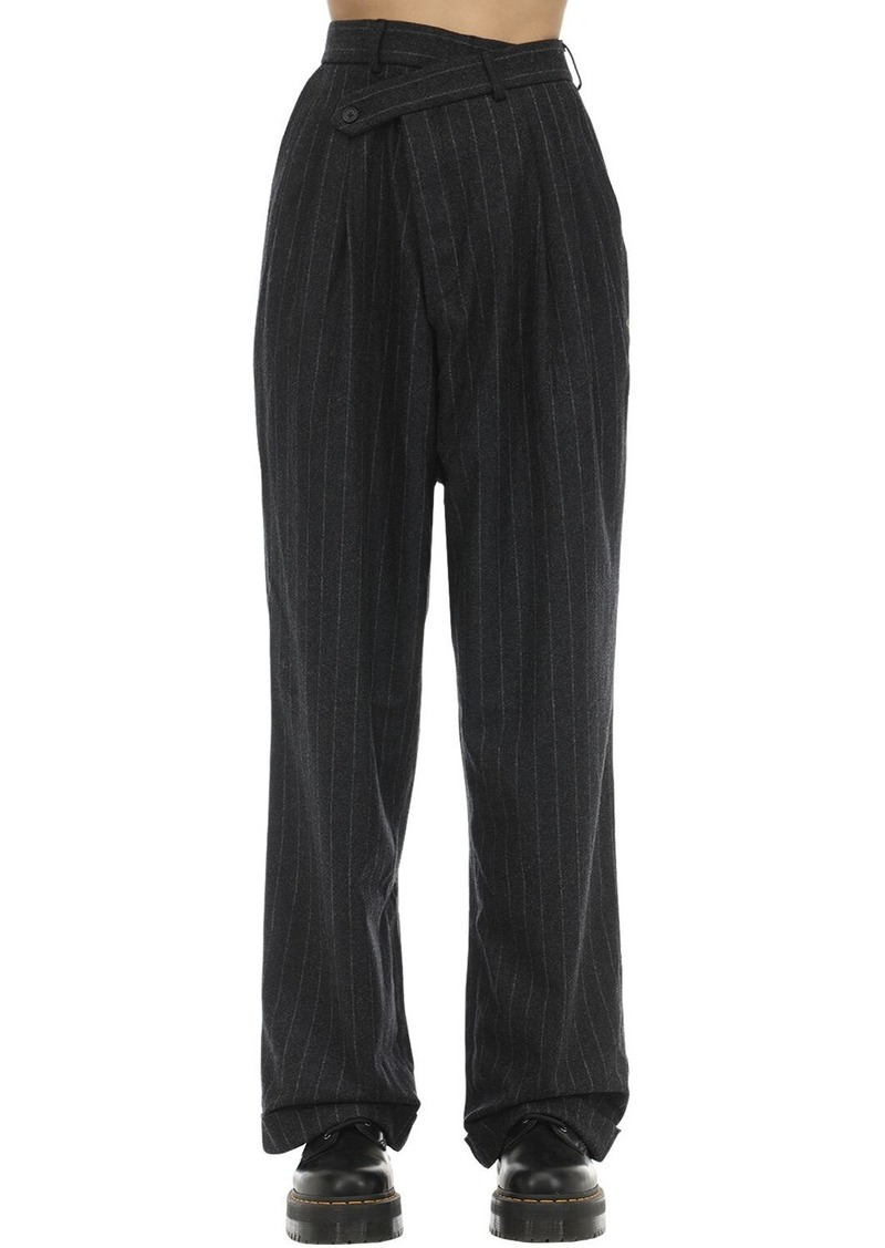 R13 Pinstriped Crossover Wool Blend Pants