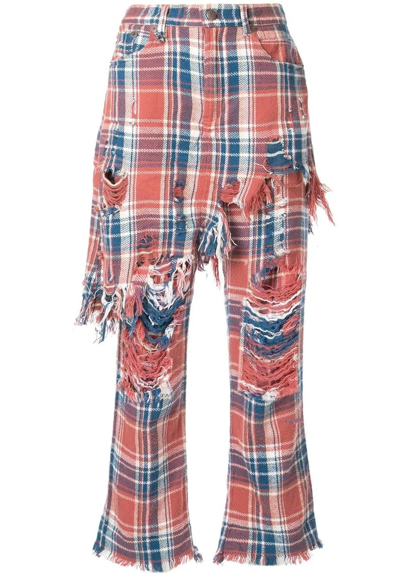 R13 plaid distressed trousers