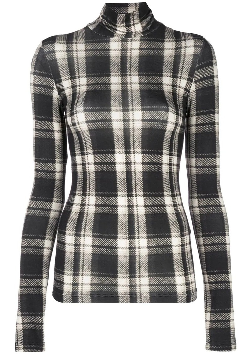 R13 plaid roll-neck jumper
