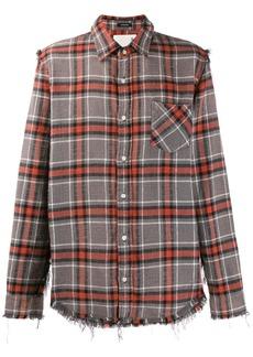 R13 plaid shredded shirt