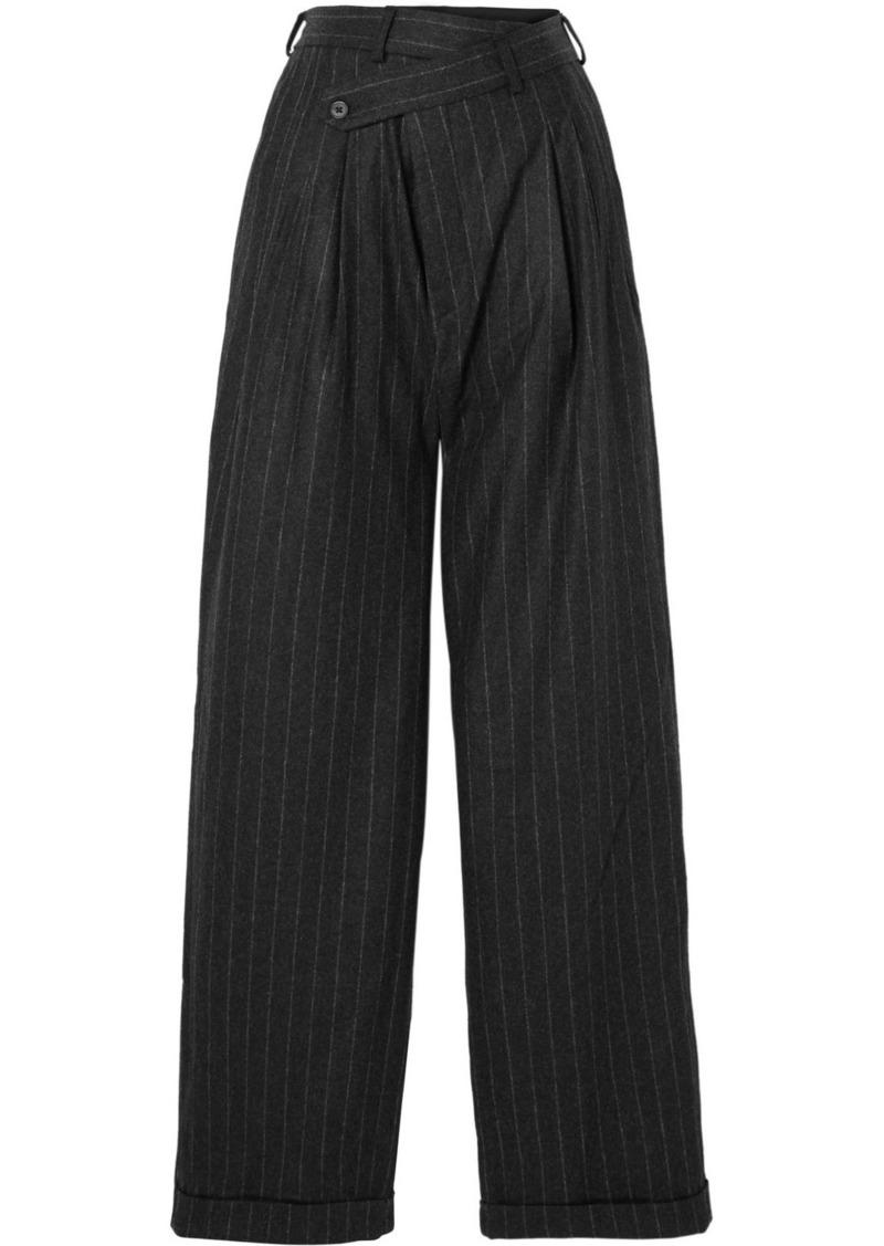 R13 Pleated Pinstriped Wool Wide-leg Pants