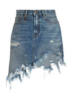 R13 Asymmetrical Distressed Denim Skirt