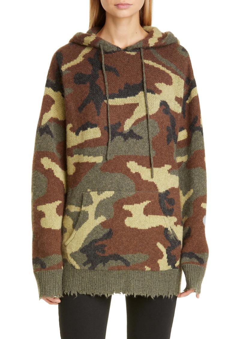R13 Camo Cashmere Hoodie Sweater