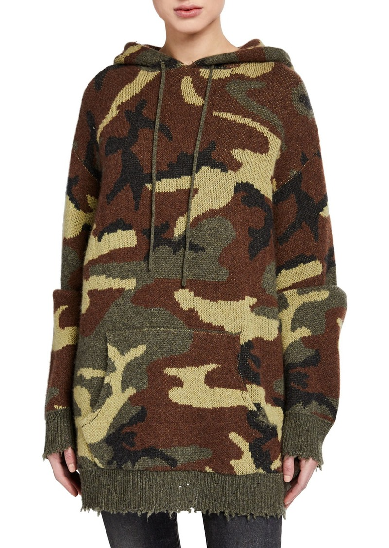 R13 Camo-Print Hooded Pullover Sweater