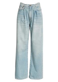 R13 Damon Pleated High Waist Wide Leg Jeans